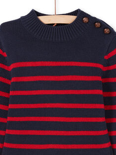 Pull bleu marine et rouge à rayures enfant garçon MOJOPUL3 / 21W90212PUL505