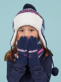 Gants bleus en fausse fourrure motif jacquard enfant fille MYAPLAGAN / 21WI0161GANC202