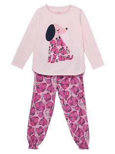 Pyjama en jersey rose pâle enfant fille et bas en tubic JEFAPYJCHIEN / 20SH1121PYJ301