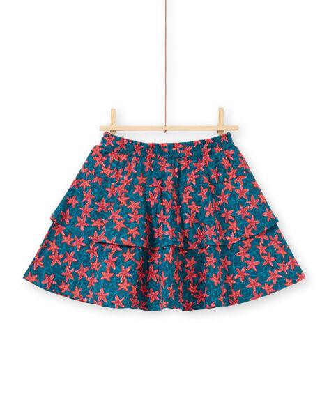 Jupe-short imprimé étoile de mer à volants enfant fille LABONJUP1 / 21S901W2JUP716
