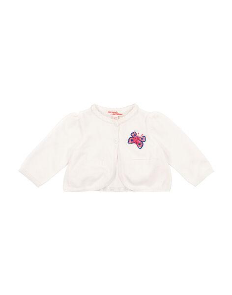 Gilet en maille blanc bébé fille FITOCAR / 19SG09L1CAR000
