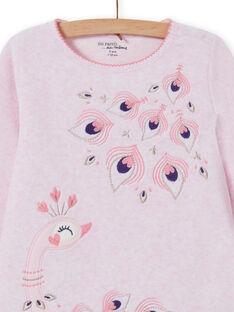 Ensemble pyjama rose chiné motif paon enfant fille MEFAPYJPEA / 21WH1132PYJD314
