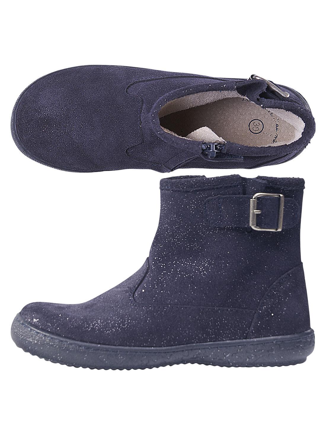 Boots croûte de cuir paillettes marine enfant fille