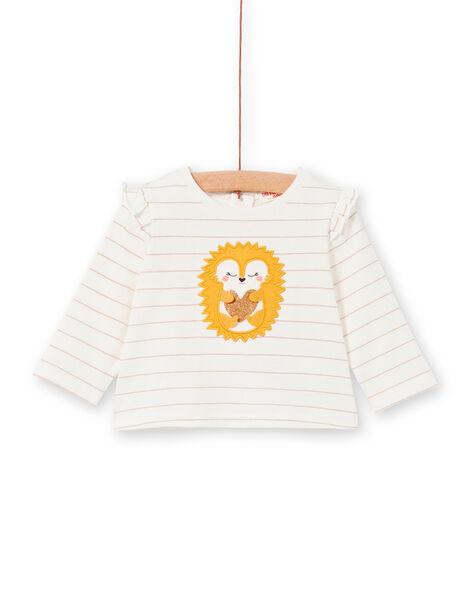 T-shirt écru à rayures motif hérisson bébé fille LIPOETEE2 / 21SG09Y1TML001
