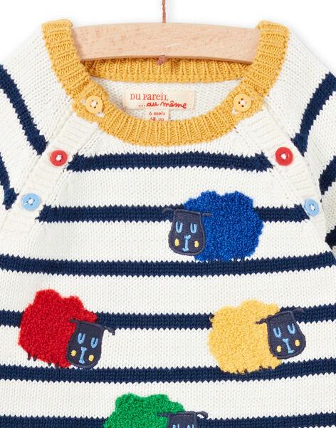 Pull écru à rayures motifs moutons bébé garçon MUMIXPUL / 21WG10J1PUL001