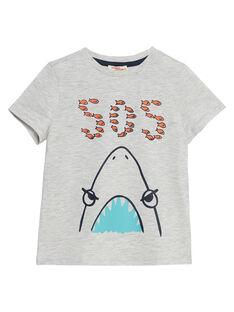 Tee shirt garçon manches courtes gris chiné imprimé requin JOJOTI11 / 20S902T5D31J920