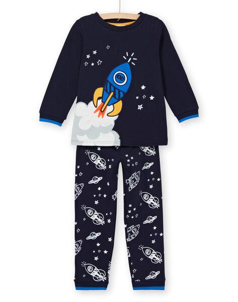 Pyjama phosphorescet enfant garçon en molleton gratté motif fusée LEGOPYJFUZ / 21SH1213PYJ705
