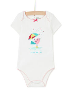 Body manches courtes layette fille motif oiseau KEFIBODMER / 20WH1393BDL001
