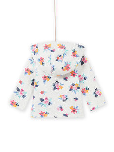Sweat gris chiné imprimé fleuri bébé fille MIPLAHOJOG / 21WG09O1JGHJ920