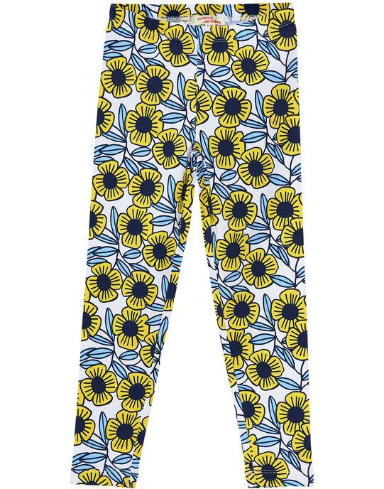 Legging fille avec fleur bleues et jaunes JYATROLEG2 / 20SI01F2CAL001