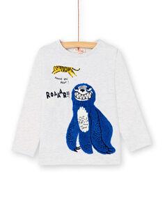 T-shirt gris chiné animation bouclettes enfant garçon KOSATEE2 / 20W902O4TMLJ920