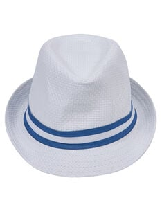 Chapeau bébé garçon blanc avec ruban bleu JYUPOECHA / 20SI10G1CHA000