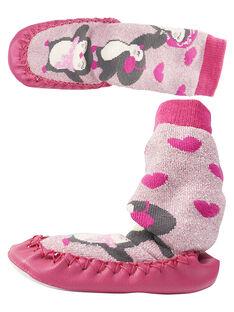 Chaussons chaussette lurex rose bébé fille GBFCCPING / 19WK37Z1D08030