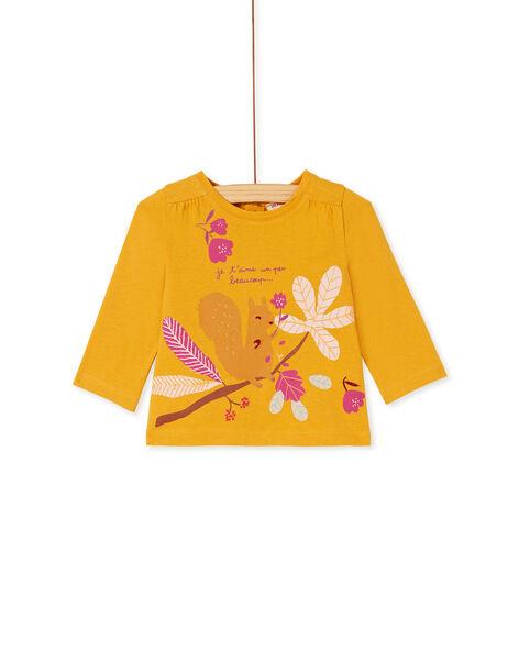 Tee-shirt manche longue jaune bébé fille KIRETEE2 / 20WG09G1TML107