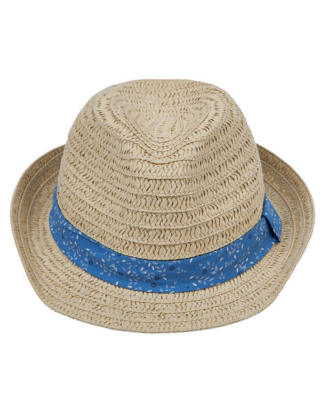 Chapeau en paille enfant garçon + ruban avec motif   JYOSOCHAP1 / 20SI0281CHA000