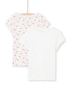 Lot de 2 T-shirts blancs à motifs assortis enfant fille MEFATEARC / 21WH11B2HLI001
