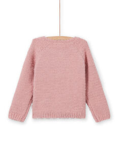 Cardigan chenille vieux rose enfant fille MAYJOCAR2 / 21W9011ACAR303