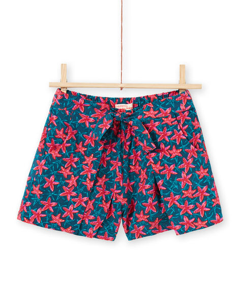 Short bleu canard et rouge imprimé étoile de mer enfant fille LABONSHORT2 / 21S901W3SHO716