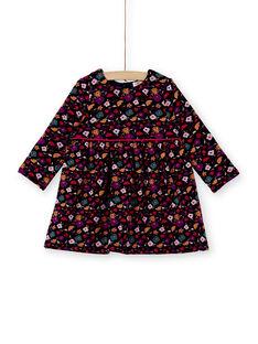 Robe bleu marine à fleurs doublé fausse fourrure bébé fille KILUROB2 / 20WG09P2ROB070