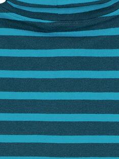 Sous Pull en côtes Bleu Pétrole rayé Turquoise GOJOSOUP4 / 19W902L1D3B707