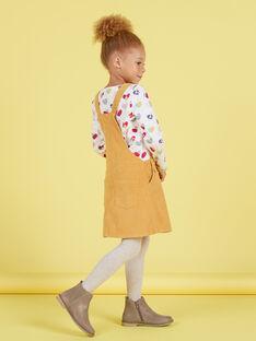 Robe salopette jaune moutarde en velours enfant fille MAMIXROB4 / 21W901J4ROBB106