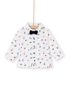 Chemise à manches longues avec nœud papillon en velours marine bébé garçon KUNOCHEM / 20WG10Q1CHM001