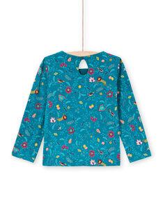 T-shirt manches longues bleu canard à imprimé fleuri enfant fille MATUTEE4 / 21W901K2TML714