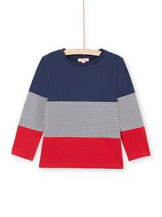 T-shirt bleu marine et rouge enfant garçon MOJOTIDEC1 / 21W90229TML705