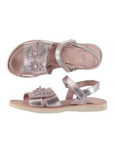 Sandale ville en cuir métallisé fille FFSANDSAM / 19SK35C3D0E030