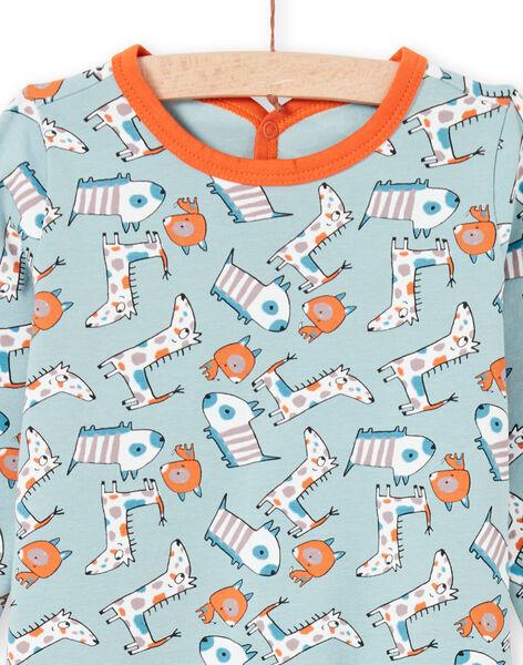 Grenouillère vert d'eau et orange imprimé chien bébé garçon MEGAGREAOP / 21WH1434GRE219