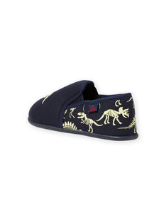 Pantoufles bleu nuit motifs dinosaures phosphorescents enfant garçon MOPANTDINO / 21XK3632D0B070