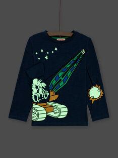 T-shirt bleu marine enfant garçon MOCOTEE3 / 21W902L2TMLC202