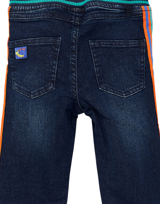 Jean garçon elastiqué denim moyen avec ceinture rayée JOVIJEAN / 20S902D1JEAP274
