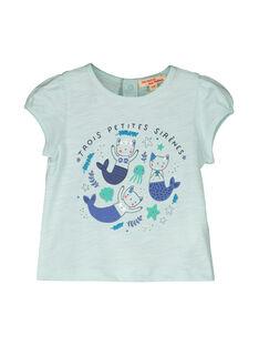 Tee Shirt Manches Courtes Turquoise FINETI / 19SG09B1TMCC216