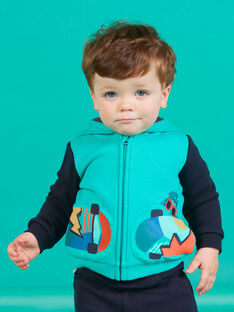 Gilet à capuche bleu turquoise motif skateboard bébé garçon MUTUGIL / 21WG10K1GILC217