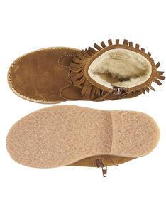 Boots à frange croûte de cuir camel enfant fille GFBOOTFRAN / 19WK35X3D0D804