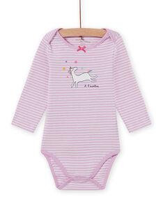 Body lavande à rayures motif licorne bébé fille MEFIBODLI / 21WH13C3BDL326