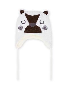 Bonnet écru motif ours en sherpa bébé garçon MYUGROBON3 / 21WI1063BON001