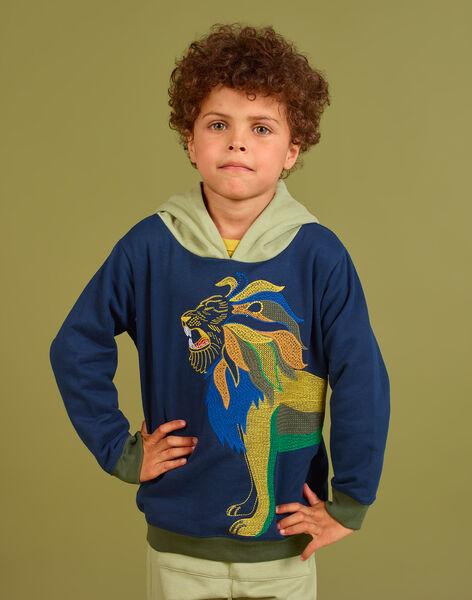 Sweatshirt à capuche bleu nuit à motif lion brodé enfant garçon MOKASWE / 21W902I1SWE705