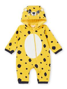 Surpyjama layette fille en molleton fourré motif léopard LEFUCOMLEO / 21SH1411SPY106