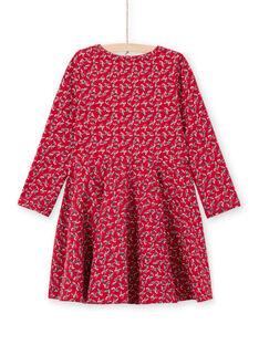 Robe évasée rouge imprimé fleuri enfant fille MAMIXROB3 / 21W901J1ROB511