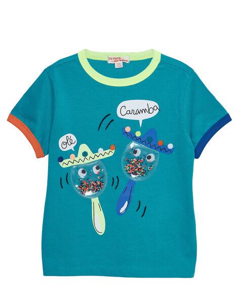 T-shirt manches courtes bleu turquoise motif fantaisie enfant garçon JOMARTI1 / 20S902P3TMCC242