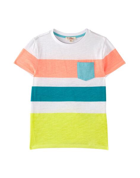 Tee shirt garçon blanc avec rayures imprimées  JOQUATI2 / 20S902R5TMC000