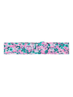 Bandeau bébé fille à fleurs roses et vertes JYIPOEBAN1 / 20SI09G1BAN000