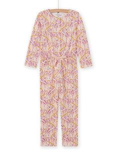 Combinaison pyjama imprimé fantaisie enfant fille MEFACOMBZEB / 21WH1181D4FD322
