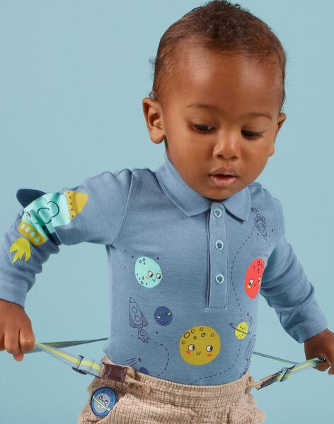 Body bleu chiné à col motif espace bébé garçon MUPLABOD / 21WG10O1BODC224