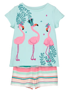 Pyjama short imprimé fille FEFAPYJFLA / 19SH11H3PYJ219