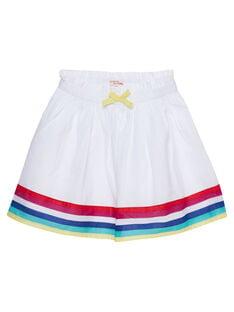 Jupe blanche à rayures multicolores enfant fille JAMARJUP1 / 20S901P2JUP000