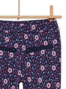 Pantalon bleu imprimé fleuri enfant fille MAPLAPANT1 / 21W901O1PANC202