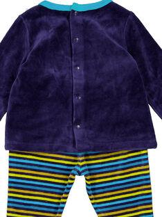 Pyjama bleu marine avec bas rayé en velours layette garçon GEGAPYJANI / 19WH14N1PYJ713